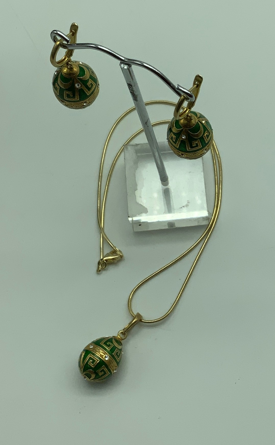 Jewellery Set 14ct gilt sterling silver hallmarked enameled and topaz pendent and a earrings - Image 3 of 4
