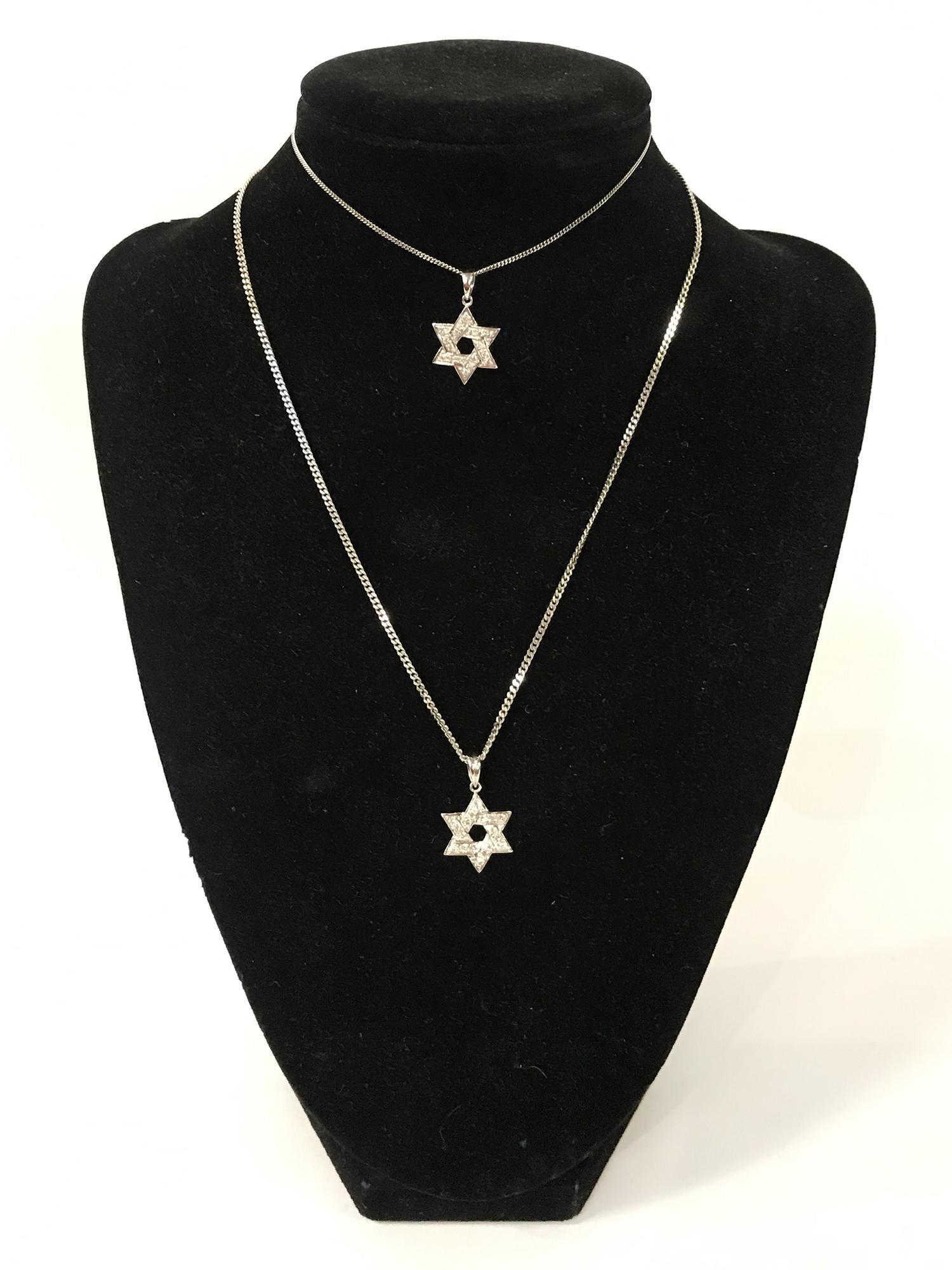 TWO 18CT GOLD DIAMOND STAR OF DAVID PENDANTS WITH ONE 18CT GOLD CHAIN & ONE 9CT GOLD CHAIN