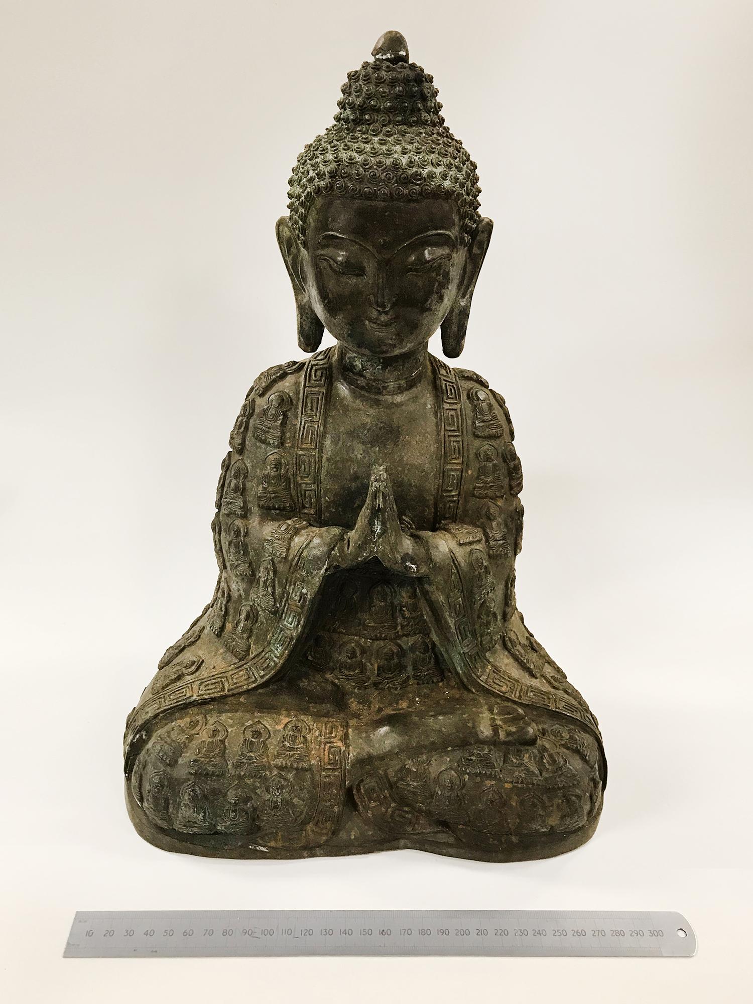 LARGE BRONZE SEATED BUDDHIST FIGURE - 40CM HIGH