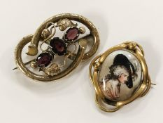 TWO ANTIQUE PIN BROOCHES