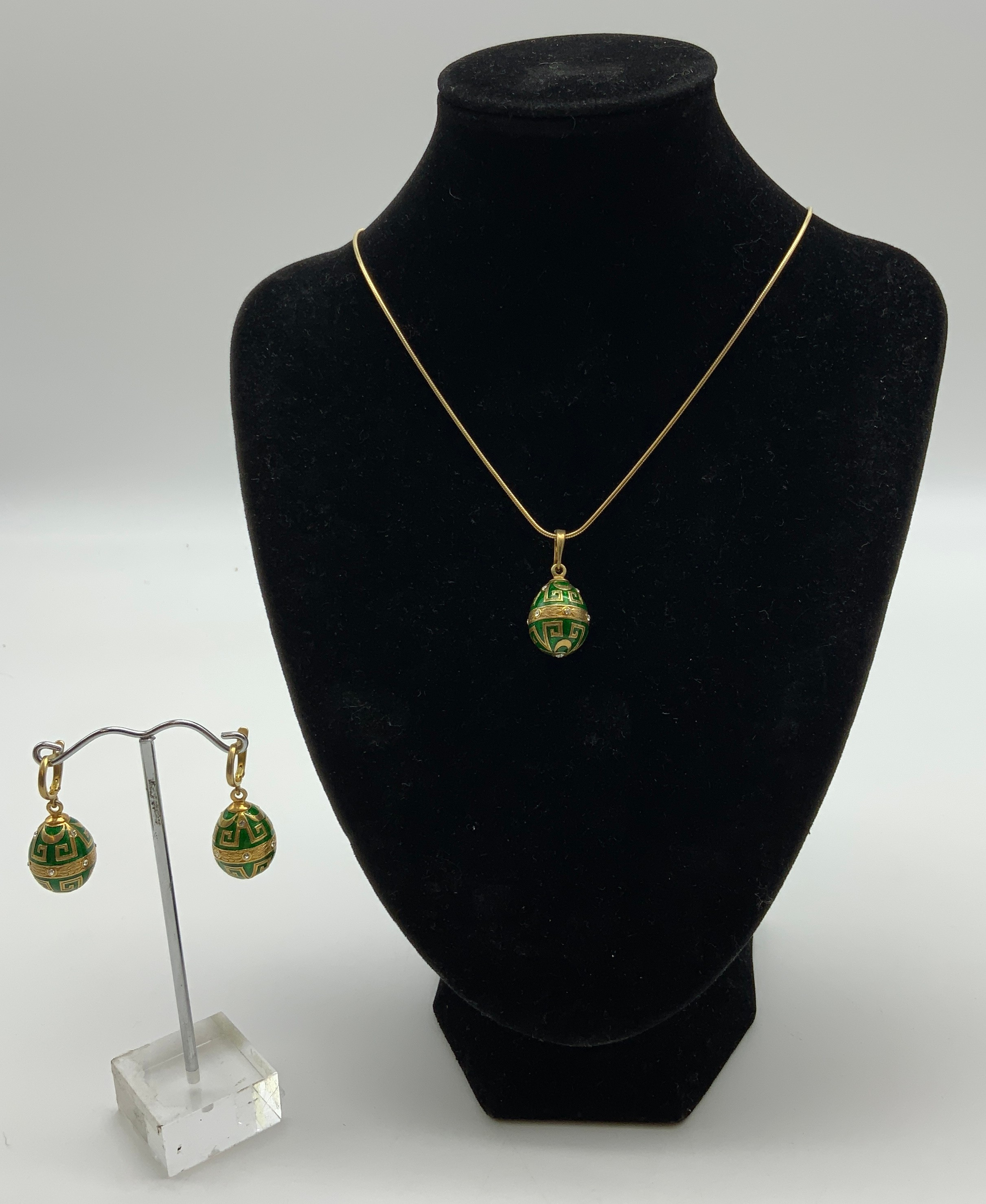Jewellery Set 14ct gilt sterling silver hallmarked enameled and topaz pendent and a earrings