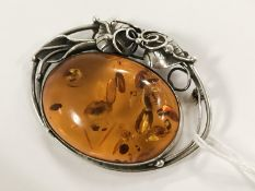 SILVER & AMBER ART NOUVEAU BROOCH/ PENDANT - NEEDS NEW PIN