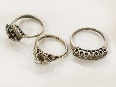 THREE SILVER & DIAMOND RINGS