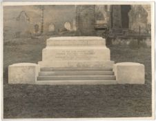 PHOTOGRAPH OF GRAVESTONE OF FRANK HOLLINS 1st BARONET OF GREYFRIARS PRESTON