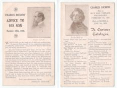 TWO VINTAGE CHARLES DICKENS RELATED POSTCARDS