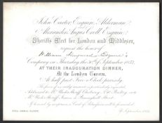 1852 SHERIFF'S ELECT FOR LONDON AND MIDDLLESEX INVITATION FOR INAUGURATION DINNER