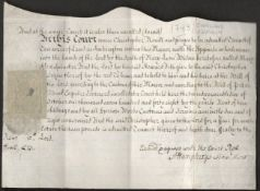 1748 OLD ENGLISH MONETARY RELATED DOCUMENT WITH REVENUE STAMP