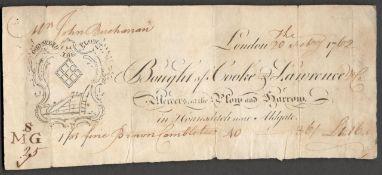 JOHN BUCHANAN LONDON 1762 RECEIPT IN ACCEPTABLE CONDITION