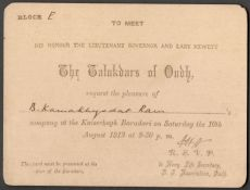 1912 INVITATION CARD & TICKET TO MEET THE TALUKDARS OF OUDH