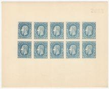 1886 COLOUR TRIAL PROOF SHEET FOR 25c BELGIAN CONGO