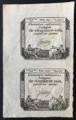 1793 UNCUT PAIR OF FRENCH ANTIQUE ASSIGNAT DE CINQUANTE SOLS SERIE 2731