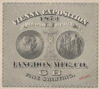 1873 VIENNA EXPOSITION MEDAL OF MERIT CERTIFICATE SPECIMEN AWARDED TO LANGDON MFG.CO