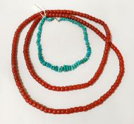PINK CORAL NECKLACES & TURQUOISE NECKLACE