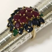 18CT GOLD RUBY & EMERALD RING