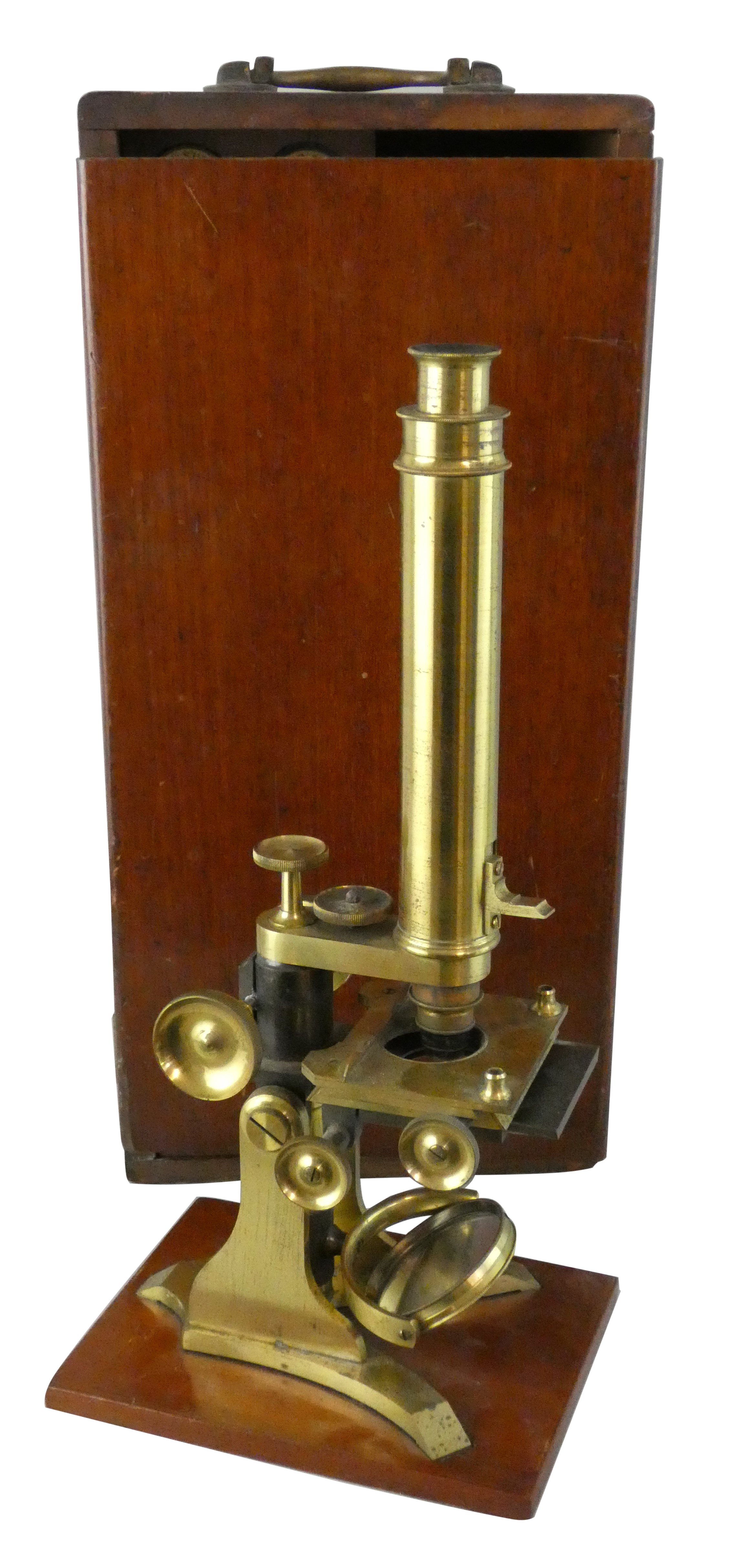 Lot 277 - A Victorian monocular brass microscope, by J.P. Cutts, Sutton & Son, c. 1850 - 1876, with brass