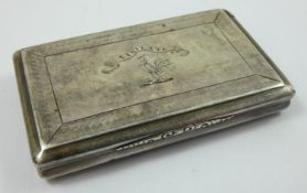 A Victorian silver snuff box, by Nathanial Mills, Birmingham 1840, of rectangular form with engine