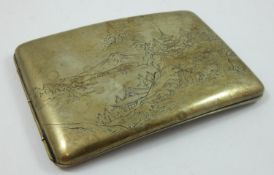 A Japanese silver cigarette case, stamped 900 STERLING, with engraved rural scene to the exterior