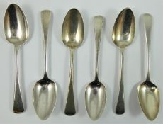 A George III silver set of old English pattern dessert spoons, various makers and dates, 6 oz.