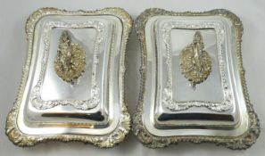 A pair of electroplated entree dishes, of rectangular form, with shell and gadrooned borders,