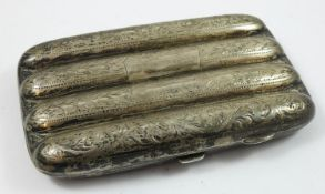 An Edwardian silver four division cigar case, Birmingham 1905, with floral engraved decoration, 13 x