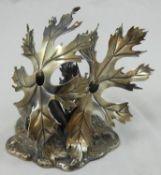 An Italian Federico Buccellati sterling silver salt & pepper floral sculpture form base, signed,