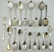 A quantity of George III and later silver flatware, various makers and dates, 28 oz.