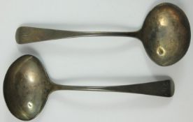 Of York interest, a George III Provincial silver pair of old English sauce ladles, by H. Prince &