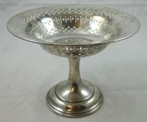 A silver pedestal basket, Sheffield 1911, with pierced bowl raised on a spreading foot, diameter