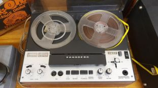A pair of Wharfdale XP2 floor mounted speakers, A Tandberg series 4000 reel to reel player and