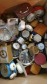3 boxes of clocks to include, mantle, alarm, travel and carriage clocks (3).