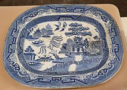 Various Royal Doulton Minden china, various Wedgwood Jasperware, a Victorian Willow pattern meat