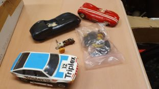 Tri-ang Scalextric Jaguar D type, Lister Jaguar A/F, together with track and buildings, together