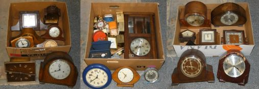 3 boxes of wall, mantle and carriage clocks (3).