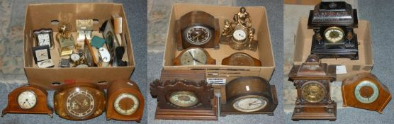 3 boxes of mantle and carriage clocks (3).