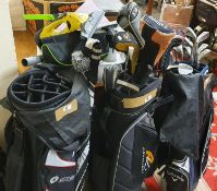 Three golf bags and 20 various clubs.