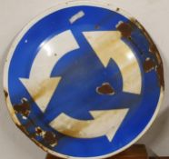 A single sided enamel circular Round about sign, mounting brackets, 60cm and a similar directional