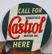A single sided circular sign, painted with a Castrol motif, diameter 60 cm.