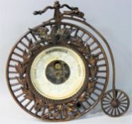 A German vintage brass Ordinary bicycle barometer, the 9 cm cm dial with German instruction, the