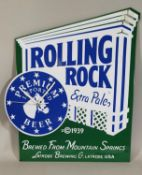 An enamel advertising sign, Rolling Rock with clock, height 51 cm.