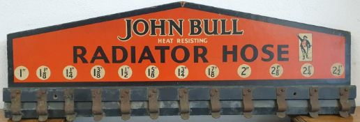 "A wood and printed John Bull heat resisting Radiator Hose sign, 1"" - 2 1/2"", 27 x 80 cm."