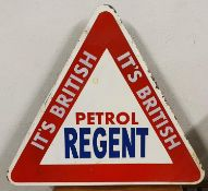A single sided triangular sign, with painted It British Regent Petrol, with post mounting