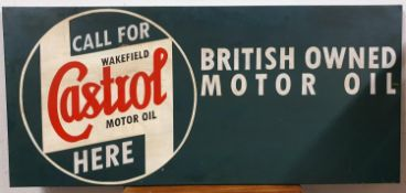 A single sided rectangular sign, with painted Castrol motif, 41 x 90 cm.