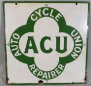 A double sided hanging vitreous enamel advertising sign, Auto Cycle Union Repairer, 51 x 51 cm.