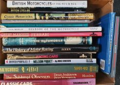 A collection of motorcycle and motorcar related books.