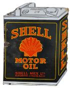 A double side, hanging, vitreous enamel Shell Motor Oil, can shaped sign, 51 x 40 cm.
