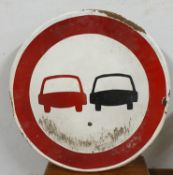 A single sided circular enamel No Overtaking sign, 60 cm.