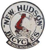 A single sided, vitreous enamel New Hudson Bicycles sign, 52 x 47 cm.