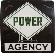 A single sided vitreous enamel Power Agency petrol globe sign, 89 cm square.