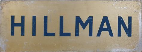 A double sided tin Hillman sign, 84 x 31 cm.