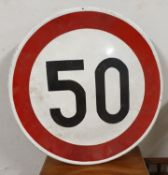 A single sided enamel speed limit sign, 50 and another 40, with post mounting brackets, 60cm.